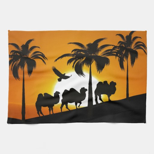 Desert Camels at sunset Towels