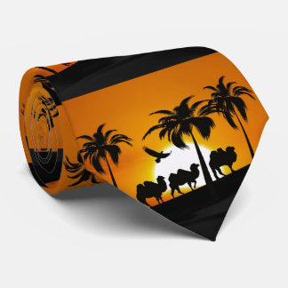 Desert Camels at sunset Neck Tie