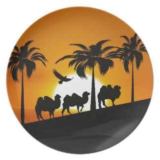 Desert Camels at sunset Party Plates
