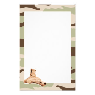 Desert Camo and Combat Boots Stationery