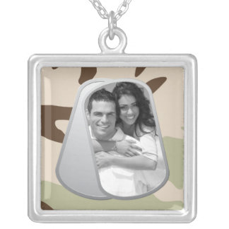 Desert Camo and Customizable Photo Dog Tags Square Pendant Necklace
