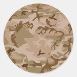 Desert Camo - Brown Camouflage Round Sticker