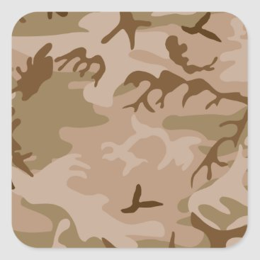 Desert Camo - Brown Camouflage Square Sticker
