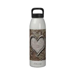 Desert Camo Heart on Camouflage Water Bottle
