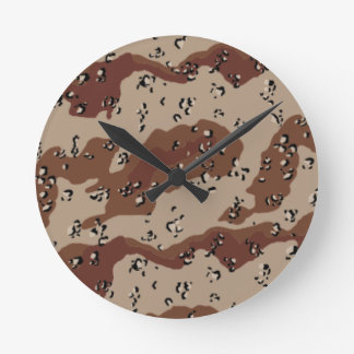 desert camo pattern camouflage print army round wall clocks