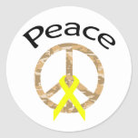 Desert Camo Peace Ribbon & Word Classic Round Sticker