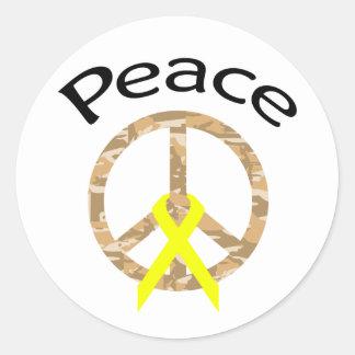 Desert Camo Peace Ribbon & Word Round Stickers