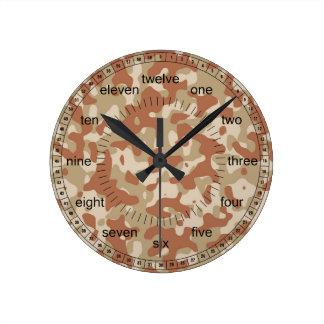 Desert Camo Round Clock