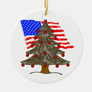 desert camouflage christmas tree wamerican flag ceramic ornament