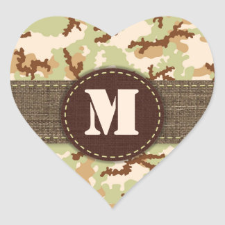 Desert camouflage heart sticker