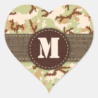 Desert camouflage heart sticker