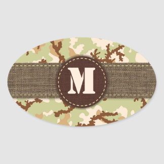 Desert camouflage oval sticker