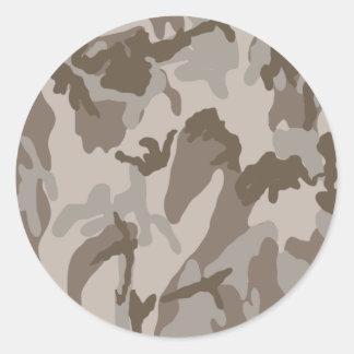 Desert camouflage pattern classic round sticker
