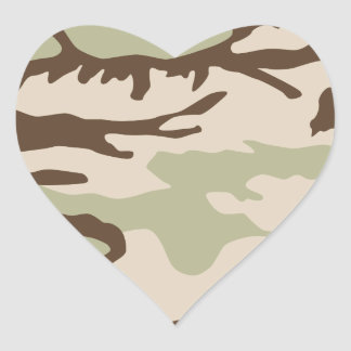 Desert Camouflage Pattern Heart Sticker