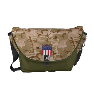 DESERT CAMOUFLAGE USA FLAG SHIELD ARMY STYLE MESSENGER BAG