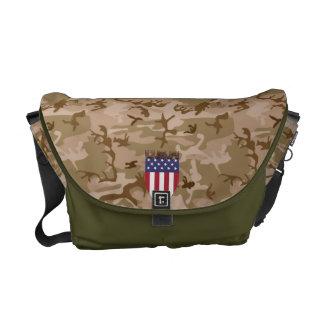 DESERT CAMOUFLAGE USA FLAG SHIELD ARMY STYLE MESSENGER BAG