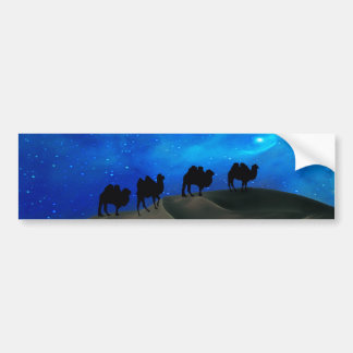 Desert caravan camels car bumper sticker