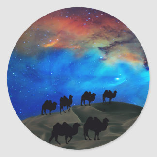 Desert caravan camels classic round sticker