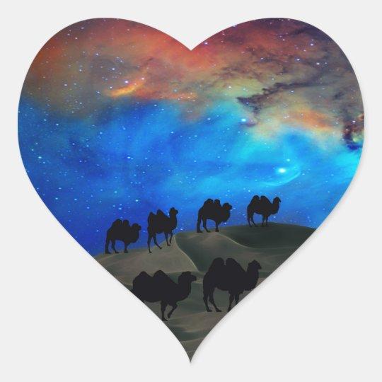 Desert caravan camels heart sticker
