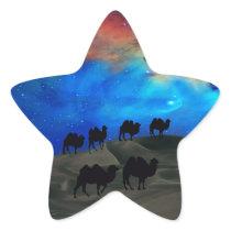 Desert caravan camels star sticker