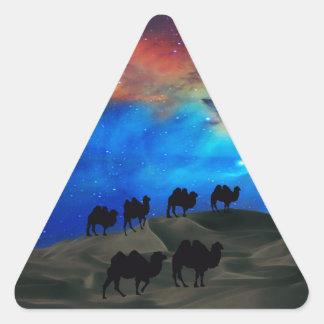 Desert caravan camels triangle sticker