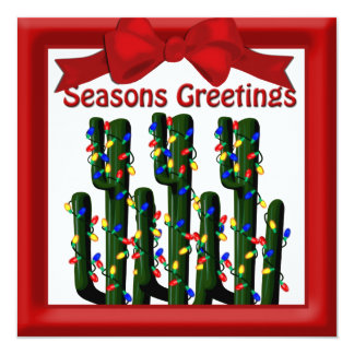 Desert Christmas Cactus Tree Flat Greeting 5.25x5.25 Square Paper Invitation Card