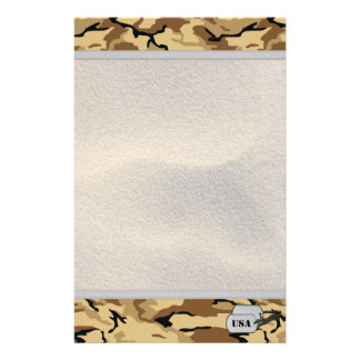 Desert Color Camo with Sand Background Stationery Design