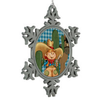Desert Cowboy Snowflake Pewter Christmas Ornament