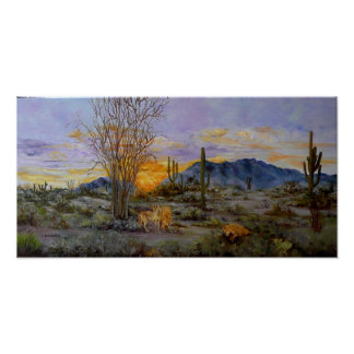 Desert Coyotes painting prints on canvas Poster