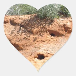 Desert Critter Dwellings in Red Sand Heart Sticker