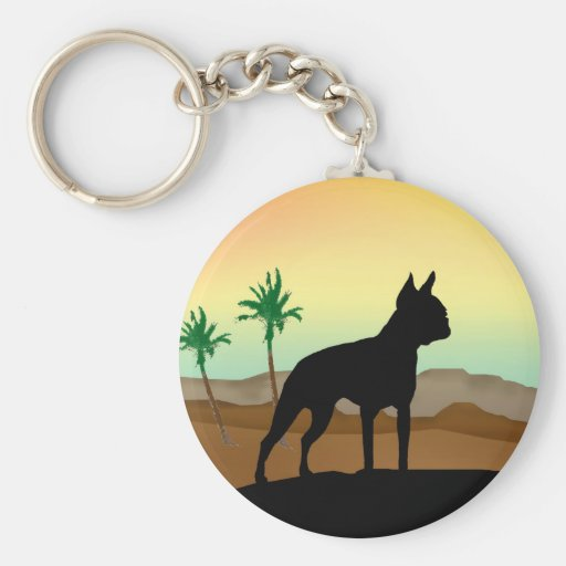 Desert Dog Boston Terrier Keychain