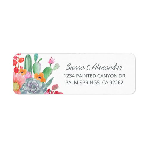 Desert Dream Cactus Bouquet Wedding Return Address Label