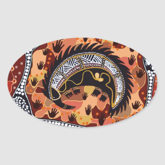 Desert Echidna Dreaming Oval Sticker