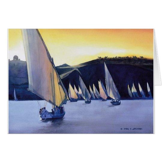 """""""Desert Ferries"""" Sailboat Watercolor Card"""
