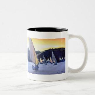 """""""Desert Ferries"""" Sailboat Watercolor Two-Tone Coffee Mug"""