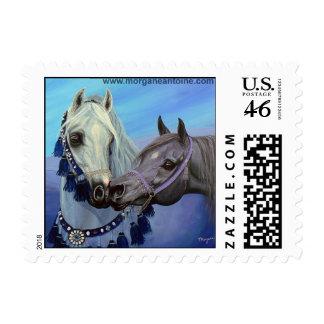 Desert Jewels Arabian horses small postage stamp