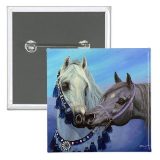 Desert Jewels Arabian horses square button