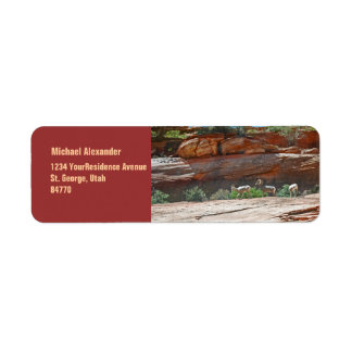 Desert Landscape View with Bighorn Sheep Label
