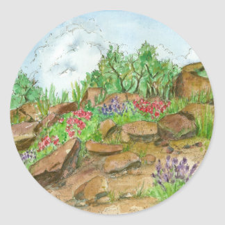 Desert Landscape Watercolor Painting Rocks Flowers Classic Round Sticker