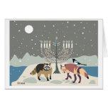 Desert Life Hanukkah: raccoon, magpie and fox Card