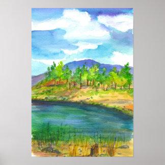 Desert Mountain Lake Watercolor Painting Poster