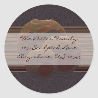 Desert Oasis Fractal Pottery Abstract Art Classic Round Sticker