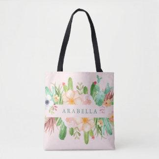 Desert Pink Succulent Flowers Tote Bag