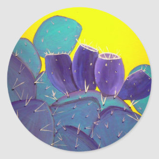 Desert Prickly Pear with Fruit Classic Round Sticker