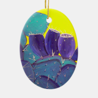 Desert Prickly Pear with Fruit Double-Sided Oval Ceramic Christmas Ornament