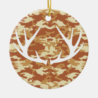 Desert Red Camouflage White Antlers Ornament
