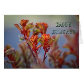 Desert Red Green Christmas Plant Flower 2 Card