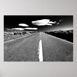 Desert Road in Black and White Poster