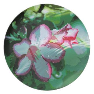 Desert Rose Flower in the Water design Dinner Plate