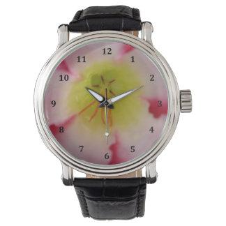 Desert Rose Flower Leather Strap Watch